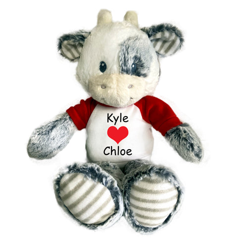 "Personalized Valentine Cow - 12"" Plush Coby Cow"