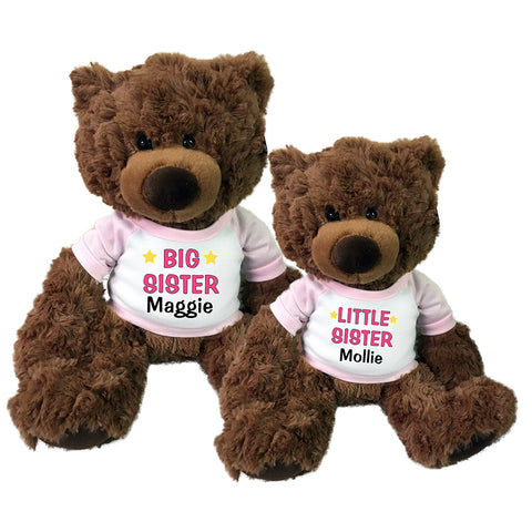 "Big Sister / Little Sister Personalized Teddy Bears - Set of 2 Coco Bears, 15"" and 13"""