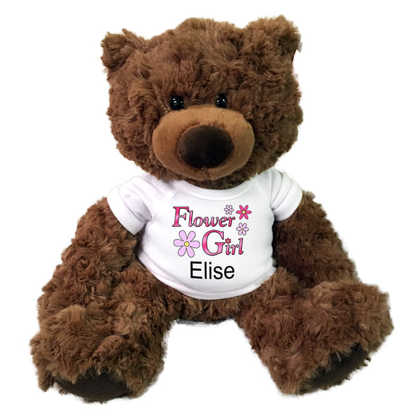 "Flower Girl Teddy Bear -  Personalized 13"" Coco Bear"