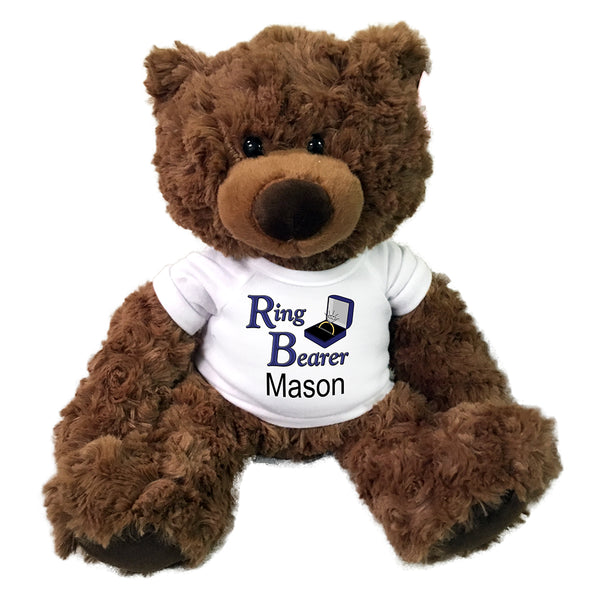 "Ring Bearer Teddy Bear -  Personalized 13"" Coco Bear"
