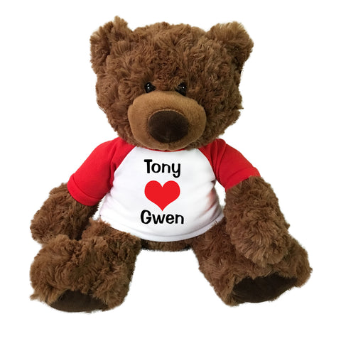 "Personalized Valentine Love Heart Teddy Bear - 13"" Coco Bear"