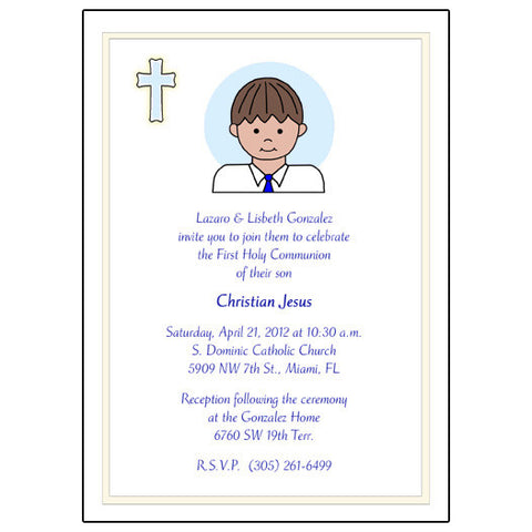 First Communion or Confirmation Invitation - Boy