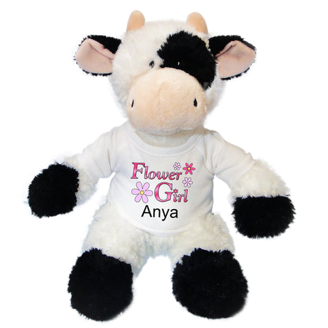"Flower Girl Stuffed Cow -  Personalized 12"" Plush Cow"