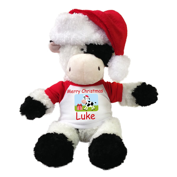 Personalized Christmas Cow - 12 Inch Tubbie Wubbie Cow with Santa Hat
