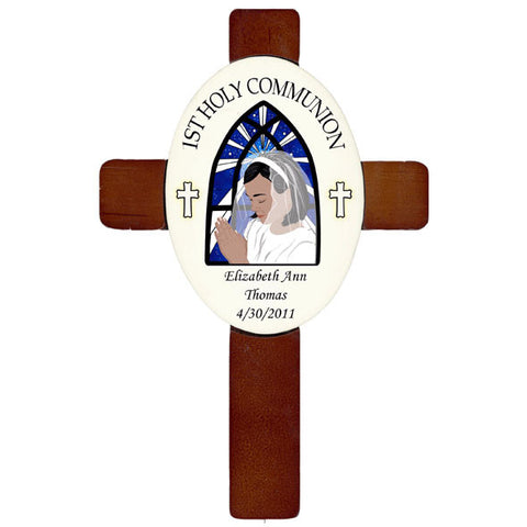 1st Communion Cross - Praying Girl Design
