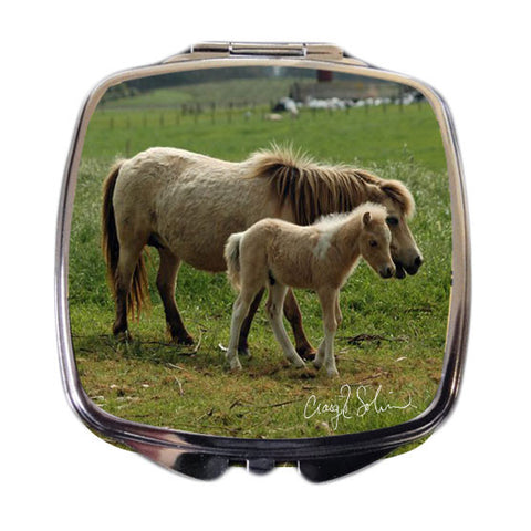 Horse and Foal Compact Mirror - Craig Solin Photography
