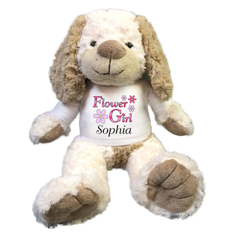 "Flower Girl Stuffed Dog -  Personalized 14"" Cream & Brown Dog"