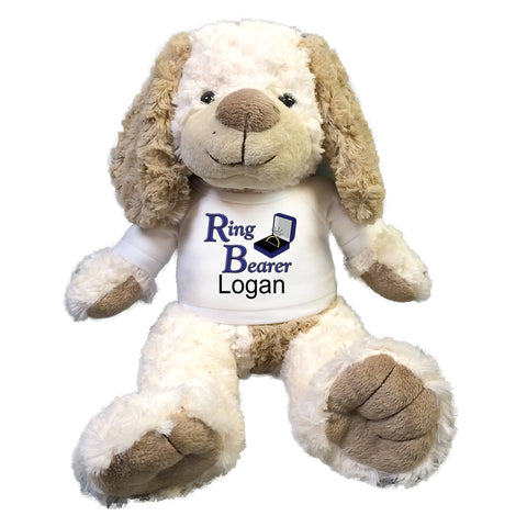 "Ring Bearer Dog -  Personalized 14"" Stuffed Cream & Brown Dog"