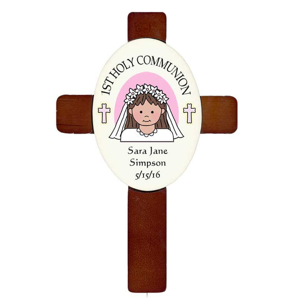Personalized First Communion Cross - Cartoon Girl
