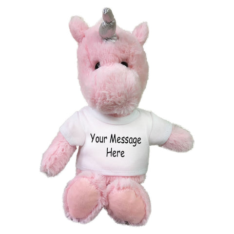 Personalized Stuffed Unicorn - Small 10 inch Cuddle Pals Pink Unicorn