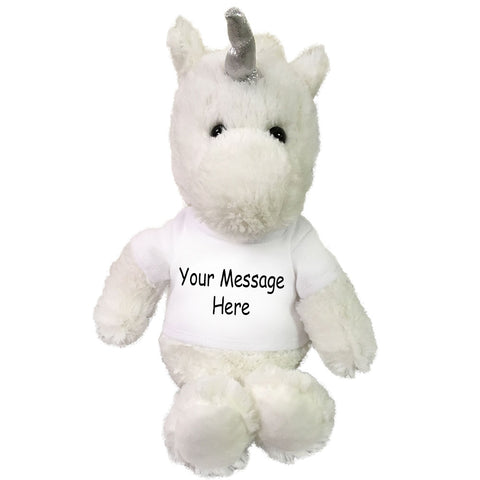 Personalized Stuffed Unicorn - Small 10 inch Cuddle Pals White Unicorn