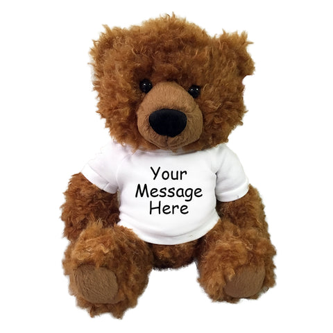 "Personalized Teddy Bear - 13"" Cinnamon Curly Hair Bear"