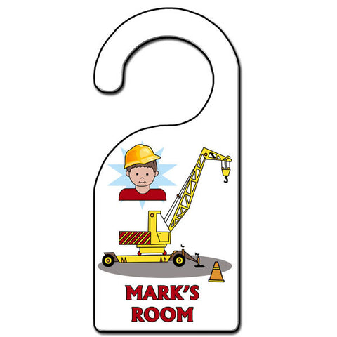 Construction Boy Door Hanger