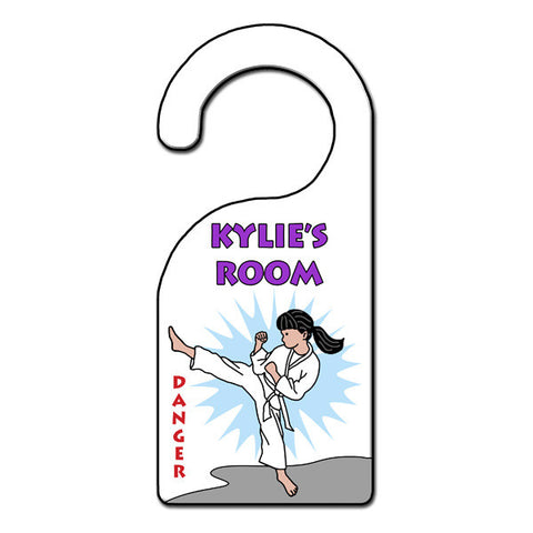 Karate or Martial Arts Girl Door Hanger - Kick Design