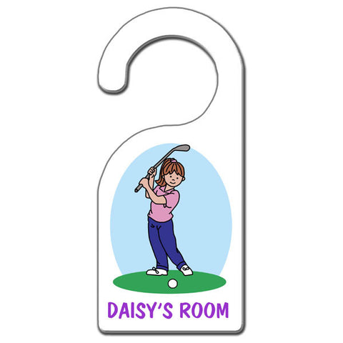 Mini Golf Door Hanger - Girl