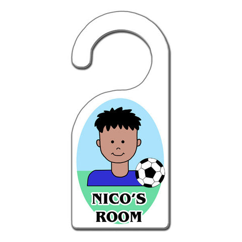Soccer Kid Door Hanger - Boy