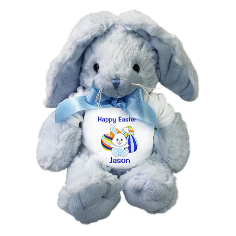 Personalized Stuffed Easter Bunny - Blue Rabbit