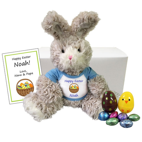 "Personalized Easter Bunny Gift Set for Boys - 14"" Fuzzy Bunny"
