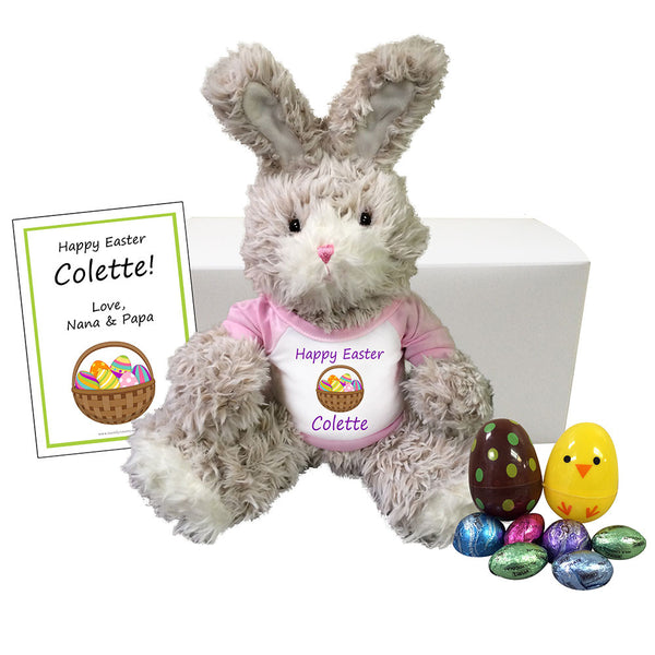 "Personalized Easter Bunny Gift Set for Girls - 13"" Fuzzy Bunny"