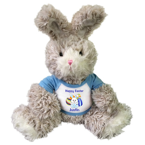 "Personalized Easter Bunny - 14"" Fuzzy Beige Bunny w/Blue Shirt"