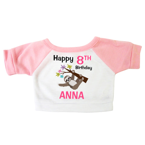 Personalized Teddy Bear T-Shirt - Birthday Sloth Design - Pink