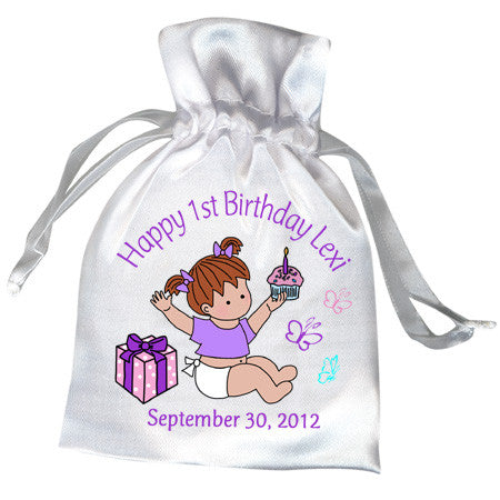 Babys 1st Birthday Favor Bag - Girl