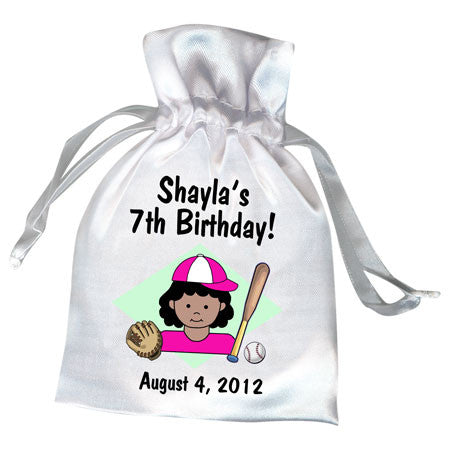 Baseball Kid Party Favor Bag - Girl