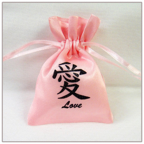 Chinese Calligraphy Mini Favor Bag - Pink