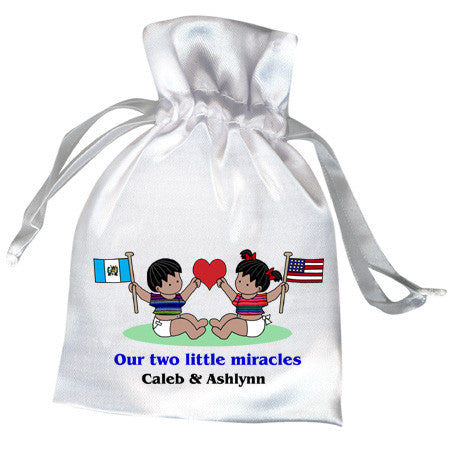Flag Baby Twins or Siblings Adoption Favor Bag (20 countries)
