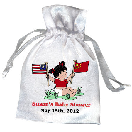 Flag Baby Girl Adoption Shower Favor Bag (20 countries)