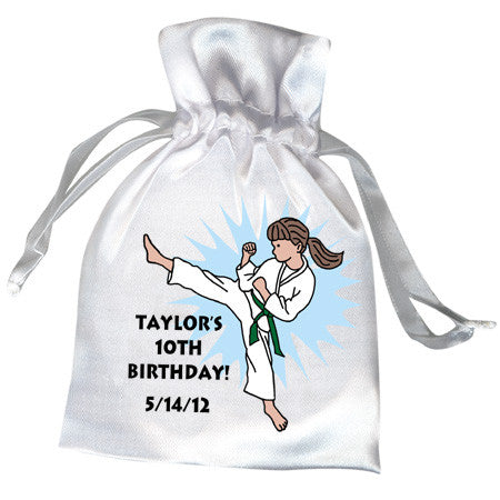 Karate or Martial Arts Girl Favor Bag - Kick Design