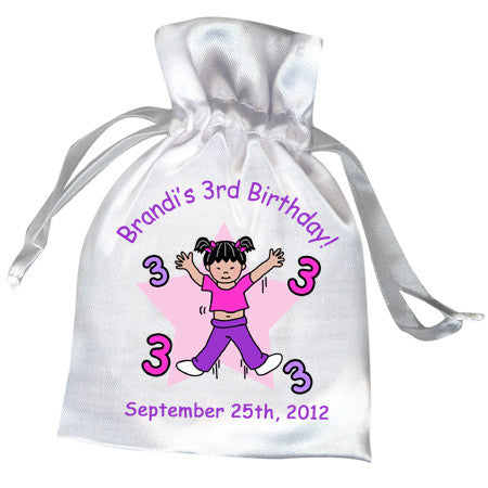 Personalized Satin Party Favor Bags in dozens of fun themes for kids