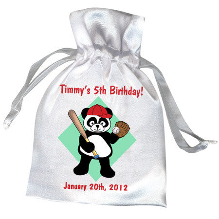 Baseball Panda Party Favor Bag