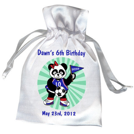 Soccer Panda Birthday Party Favor Bag - Girl Design