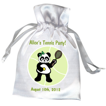 Tennis Panda Birthday Party Favor Bag - Girl Design
