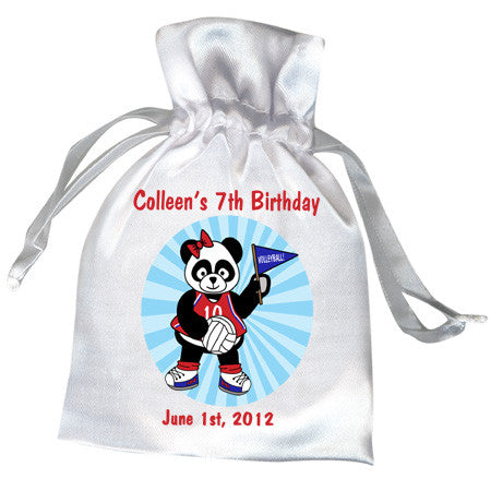 Volleyball Panda Personalized Birthday Party Favor Bag - Girl