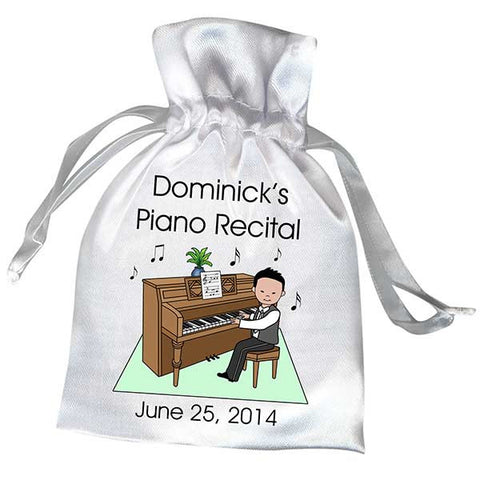 Piano Recital Boy Satin Favor Bag
