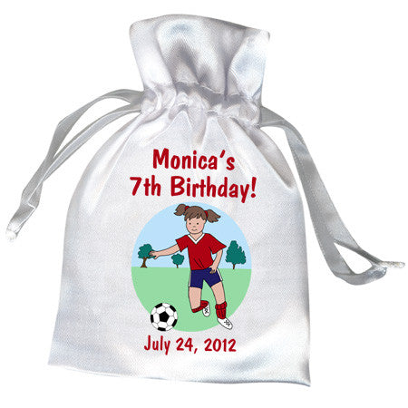 Soccer Player Kids Birthday Party Favor Bag - Girl