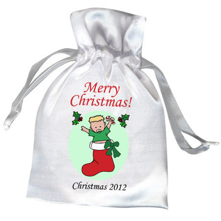 Baby Boy in Stocking Christmas Favor Bag