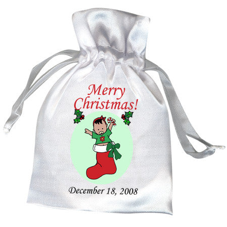 Baby Girl in Stocking Christmas Favor Bag