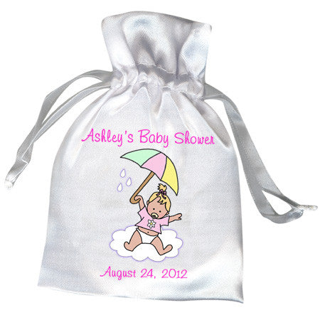 Umbrella Baby Shower Favor Bag - Girl