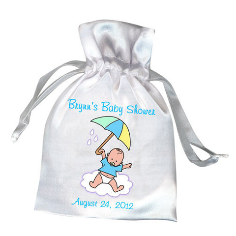 Umbrella Baby Shower Favor Bag - Boy