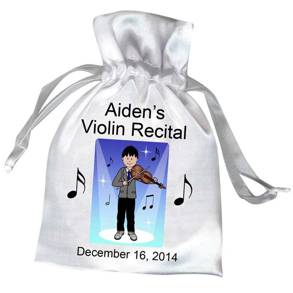 Violin Recital Boy Satin Favor Bag