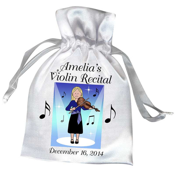 Violin Recital Girl Satin Favor Bag