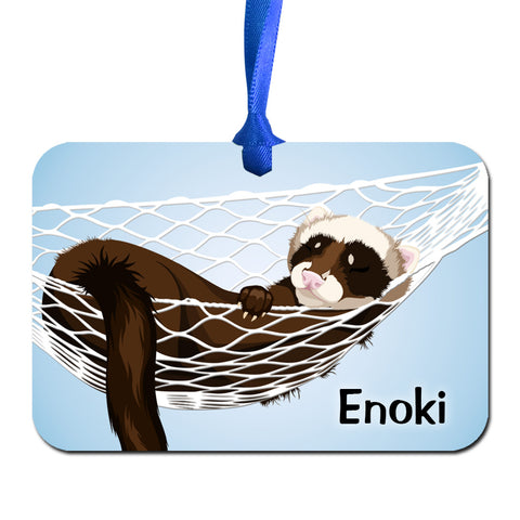 Ferret in Hammock Personalized Aluminum Ornament by Amanda Lynn