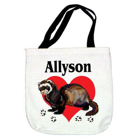 Ferret Love Personalized Tote Bag