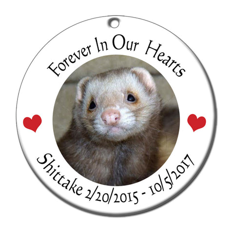 Ferret Memorial Photo Christmas Ornament - Personalized