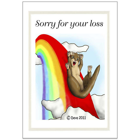 Ferret Rainbow Bridge Sympathy Cards - Design 1