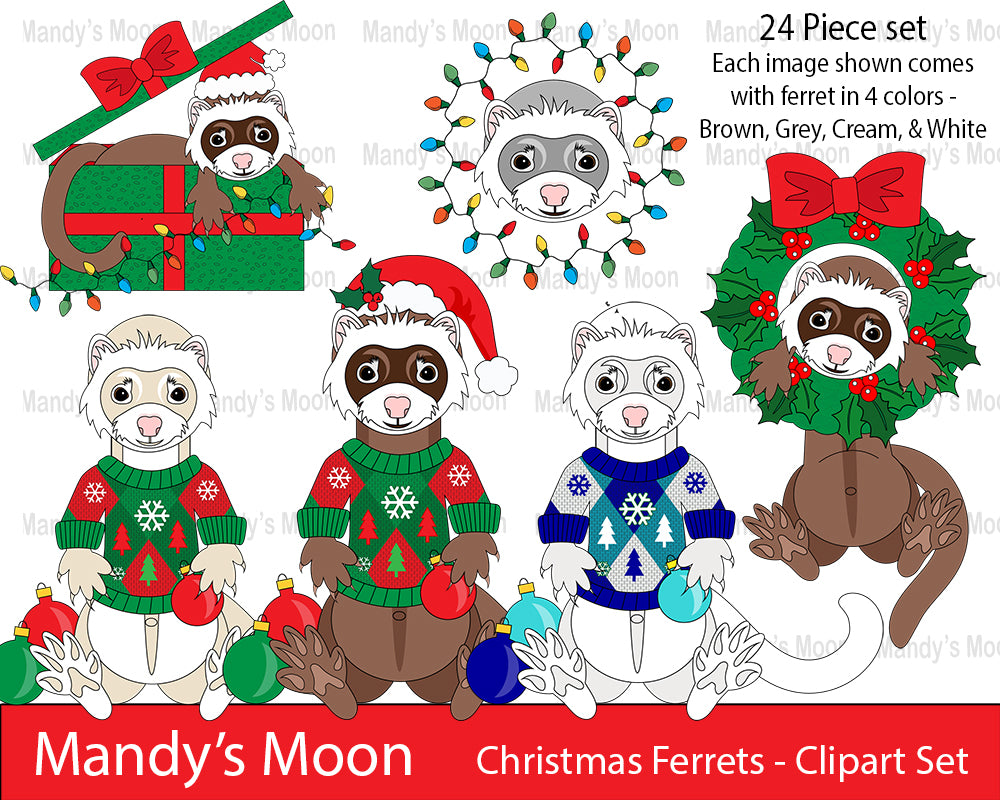 Christmas Ferret.Christmas Ferrets Clipart Set Personal Nonprofit Use Only