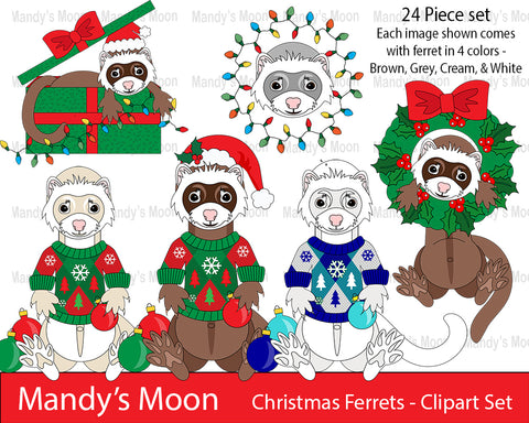 Christmas Ferrets Clipart Set (Personal & Nonprofit Use only)